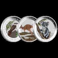 Satz mit 3 x 1/2 oz farbige polierte Platte Silbermünzen - australischer Busch - 2015 limitiert