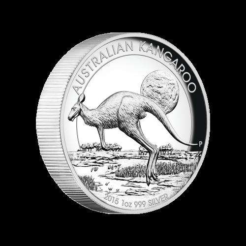 Pièce d'argent de qualité Belle Epreuve (BE) Kangourou australien à haut relief 2015 de 1 once