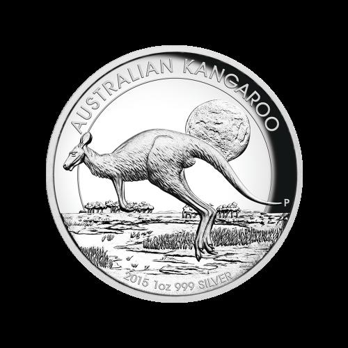 """Ein Känguru, das in der Abenddämmerung durch den Busch hüpft und die Worte """"Australian Kangaroo 2015 1 oz 999 Silver"""" (Australisches Känguru 2015 1 oz 999 Silber)."""
