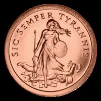 Ronde de cuivre Sic Semper Tyrannis 2014 de 1 once