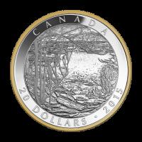 1 oz vergoldete Silbermünze - Tom Thomson: Frühlingseis - 2015
