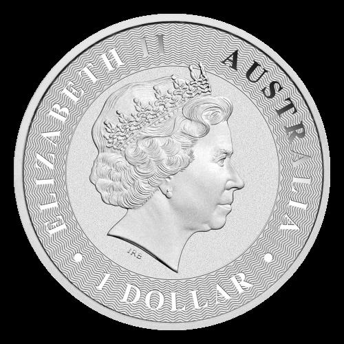 """Ein hüpfendes Känguru, über strahlende Linien platziert und die Worte """"Australian Kangaroo 2016 1 oz 9999 Silber"""" (Australisches Känguru 2016 1 oz 9999 Silber)."""