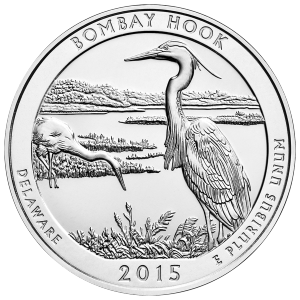 5 oz 2015 Krásná Amerika | Stříbrná mince Bombay Hook National Wildlife Refuge