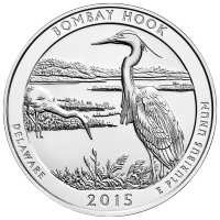 5oz 2015 America the Beautiful | Bombay Hook National Wildlife Refuge Silver Coin