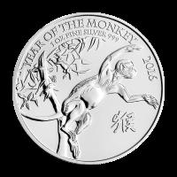 1 oz Silbermünze - British Royal Prägeanstalt - Jahr des Affen - 2016