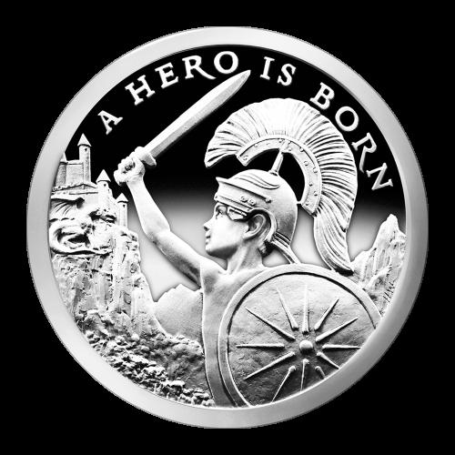 """Ein Junge einen Drachen, mit einem Helm, Schild und Schwert herausfordernd und ein Schloss mit den Worten """"A Hero is Born"""" (ein Held wurde geboren)."""