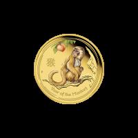 1/10 oz farbige Goldmünze der Perth Prägeanstalt - Jahr des Affen - limitiert 2016