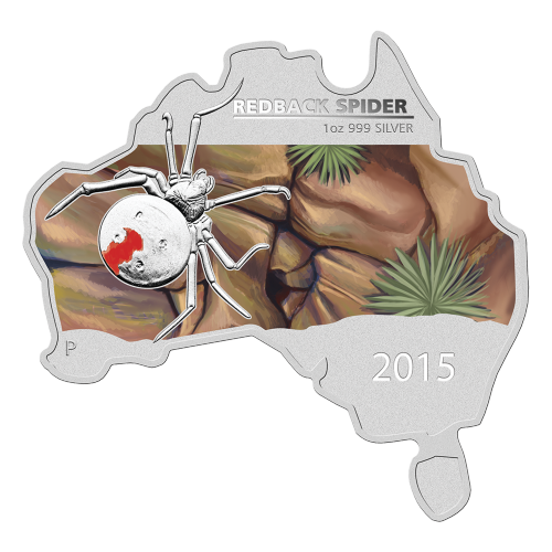 1 oz 2015 Australian Map Shaped Redback Spider Silver Coin