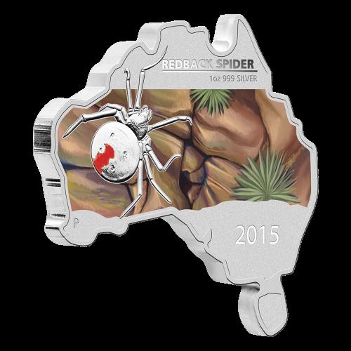 1 oz Silbermünze - australische Rotrückenspinne geformt wie die australischen Landkarte - 2015