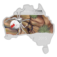 1 oz 2015 Australian Map Shaped Redback Spider 銀貨