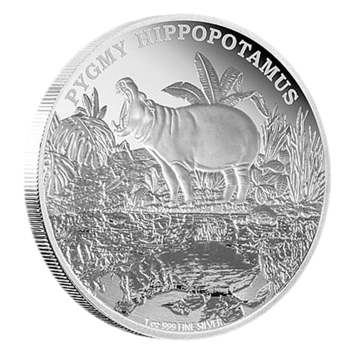 1 oz 2015 Endangered Species Pygmy Hippopotamus Silver Proof Coin