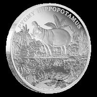 1 oz Silbermedaille - vom Aussterben bedrohte Tierarten Zwergflusspferd - 2015