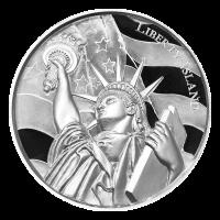 2 oz Silbermedaille amerikanische Sehenswürdigkeiten Serie   Liberty Island - Ultrahochrelief
