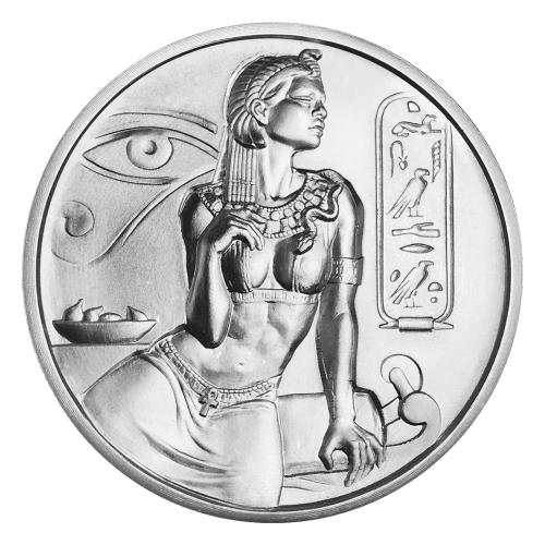 Sitzende Kleopatra, ein Zierrahmen zu ihrer Linken, das Auge des Horus und eine Schale mit Feigen zu ihrer Rechten