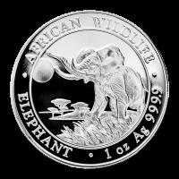 1 oz 2016 Somalische Afrikaanse Olifant Zilveren Munt
