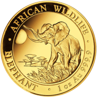 1 oz somalische Goldmünze - afrikanischer Elefant - 2016