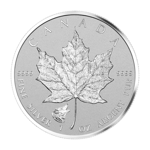 1 oz 2016 Canadian Maple Leaf Wolf Privy Silver Coin