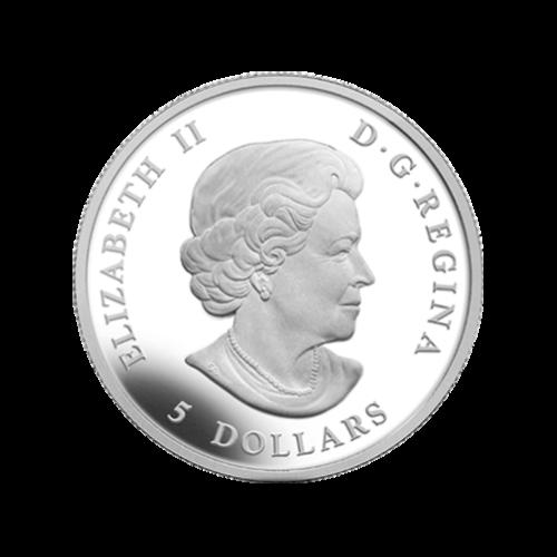"""Abbild von Königin Elisabeth II. und die Worte """"Elizabeth II D.G. Regina 5 Dollars""""."""