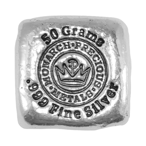 """Das MPM Kronenlogo und die Worte """"Monarch Precious Metals 50 Grams 999 Fine Silver"""" (Monarch Edelmetalle 50 Gramm 999 Feinsilber)."""