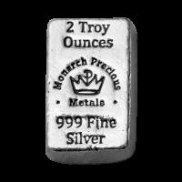 2 oz Silberbarren Monarch Precious Metals - handgegossen