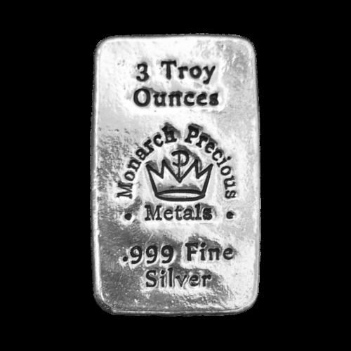 "Das MPM Kronenlogo und die Worte ""Monarch Precious Metals 3 Troy Ounces 999 Fine Silver"" (Monarch Edelmetalle 3 Troy-oz 999 Feinsilber)."