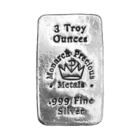 3 oz Monarch Precious Metals Hand Poured Silver Bar