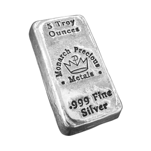5 oz Monarch Precious Metals Hand Poured Silver Bar