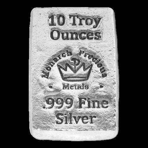 "Das MPM Kronenlogo und die Worte ""Monarch Precious Metals 10 Troy Ounces 999 Fine Silver"" (Monarch Edelmetalle 10 Troy-oz 999 Feinsilber)."