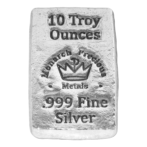 10 oz Monarch Precious Metals Hand Poured Stackable Silver Bar