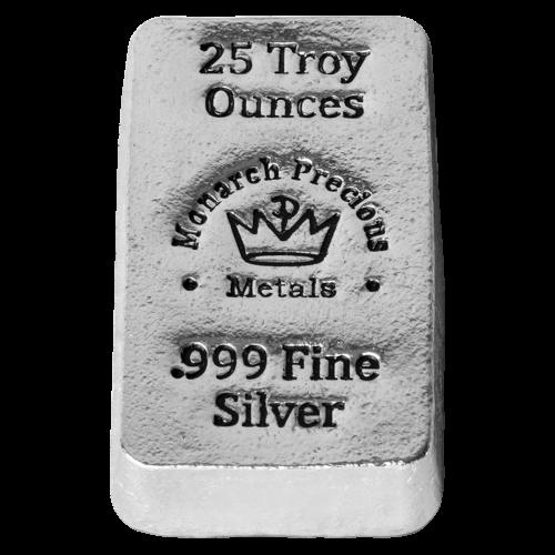 "Das MPM Kronenlogo und die Worte ""Monarch Precious Metals 25 Troy Ounces 999 Fine Silver"" (Monarch Edelmetalle 25 Troy-oz 999 Feinsilber)."
