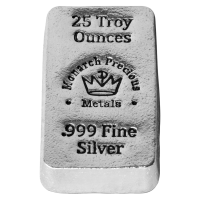 25 oz Monarch Precious Metals Hand Poured Silver Bar
