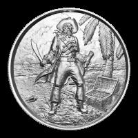 2 oz Silbermedaille - Freibeutersammlung   Piratenkapitän Ultrahochrelief