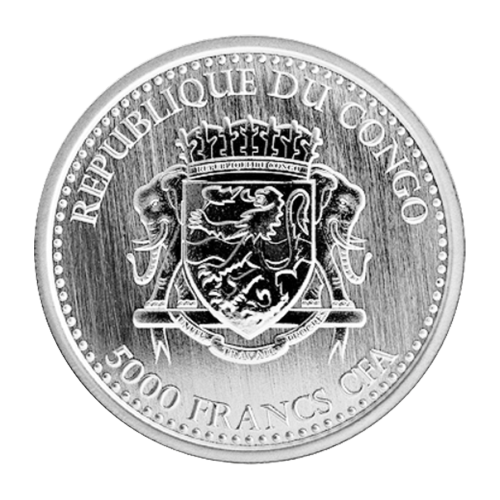 """Brüllender Silberrücken-Gorilla und die Worte """"Congo Silverback Gorilla 2015 1 oz 999 Silver"""" (Kongo Silberrücken-Gorilla 2015 1 oz 999 Silber)."""