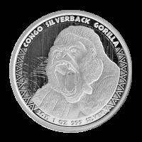 1 oz kongolesische Silbermünze - Silberrücken Gorilla - 2015
