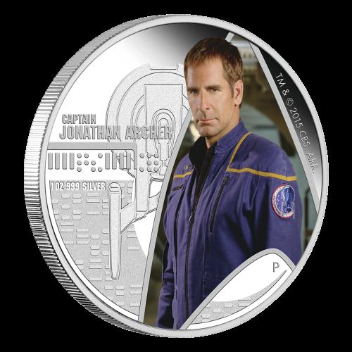 1 oz Silbermünze - Star Trek Raumschiff Enterprise Jonathan Archer - limitiert 2015