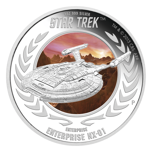 Ensemble de deux pièces d'argent de qualité Belle Epreuve (BE) Star Trek : Enterprise 2015 de 1 once