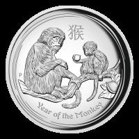 1 oz Silbermünze Hochrelief Jahr des Affen Perth Prägeanstalt Mondserie 2016