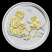 1 oz vergoldete Silbermünze der Perth Prägeanstalt - Jahr des Affen - eingekapselt 2016