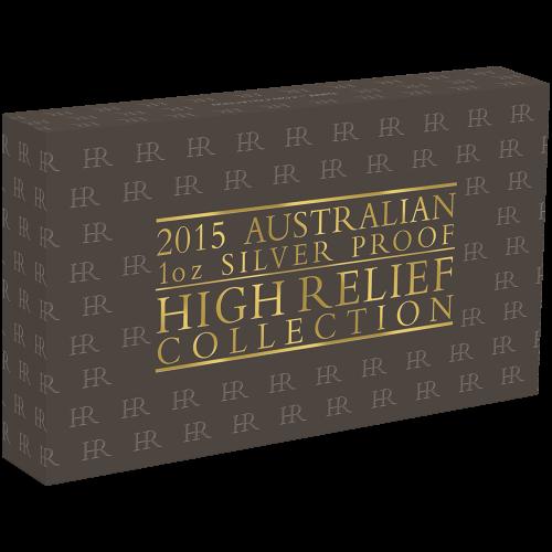 Satz mit 3 x 1 oz australischen Silbermedaillen mit Hochrelief