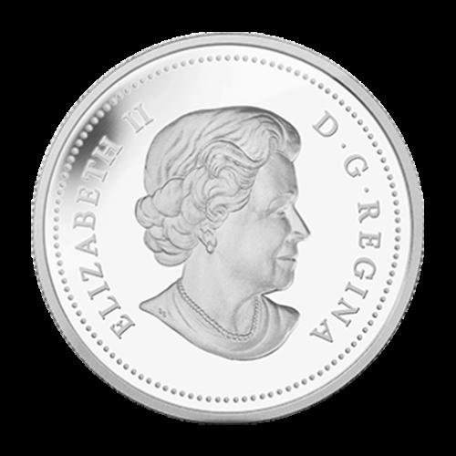 """Frontalansicht eines Bisonkopfs, umrandet mit den Worten """"Canada 20 Dollars 2014""""."""