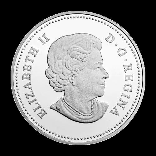 """Zwei Bisons die ihre Köpfe gegeneinander stossen, eingekreist von den Worten """"Canada 20 Dollars 2014"""""""