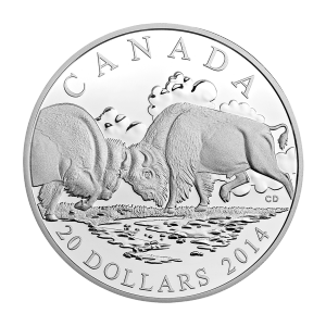 1 oz 2014 Bison: The Fight Silver Proof Coin