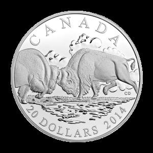 1盎司2014年北美野牛: 角斗精制银币