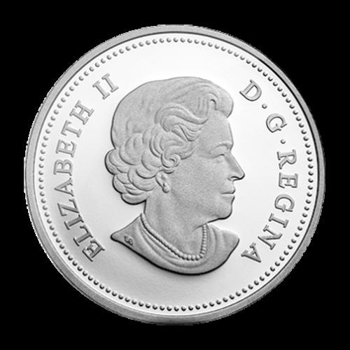 """Zwei Bisons umrandet von den Worten """"Canada 20 Dollars 2014"""" (Kanada 20 Dollar 2014)."""