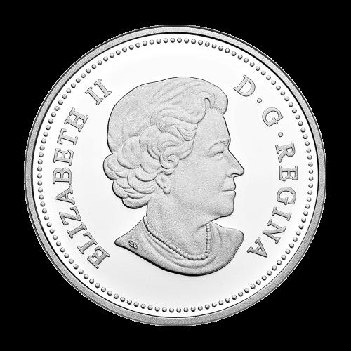 """Ruhende Bisonfamilie umrandet von den Worten """"Canada 20 Dollars 2014"""" (Kanada 20 Dollar 2014)."""