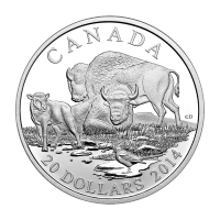 1 oz Silbermünze - Bison: Eine sich ausruhende Familie - limitiert 2014