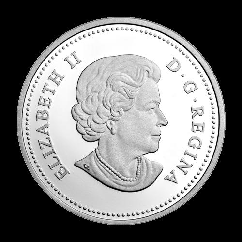 """Bild eines Weißwedelhirsch umrandet von den Worten """"Canada 2014 20 Dollars"""" (Kanada 2014 20 Dollar)."""