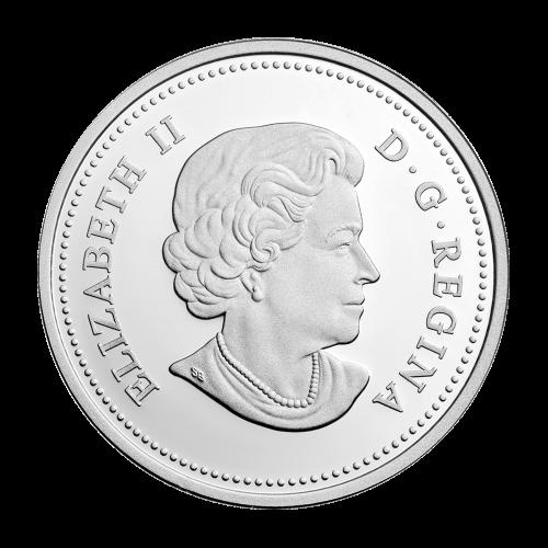 """Weißwedelhirsch und Hirschkuh springen über einen Baumstamm, umrandet von den Worten """"Canada 2014 20 Dollars"""" (Kanada 2014 20 Dollar)."""
