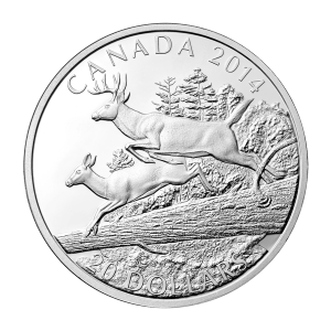 1 oz 2014 White-Tailed Deer: Mates Silver Proof Coin