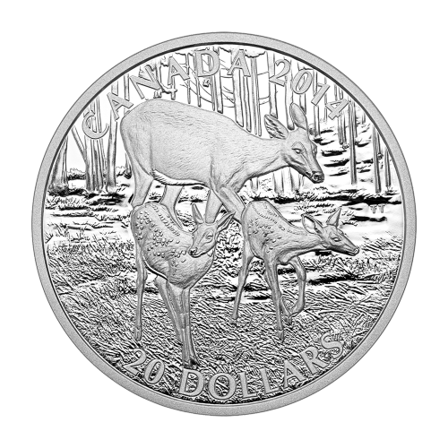 1 oz 2014 White-Tailed Deer: Doe and her Fawns Silver Proof Coin